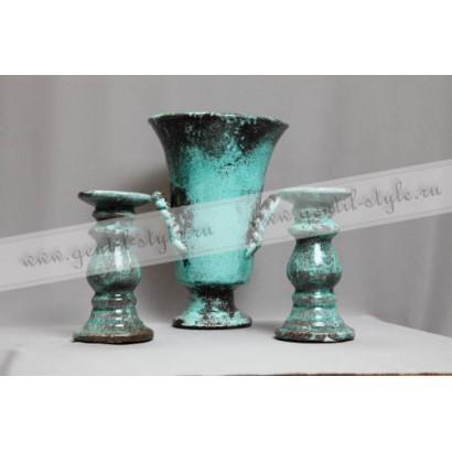 Керамическая ваза + подсвечники